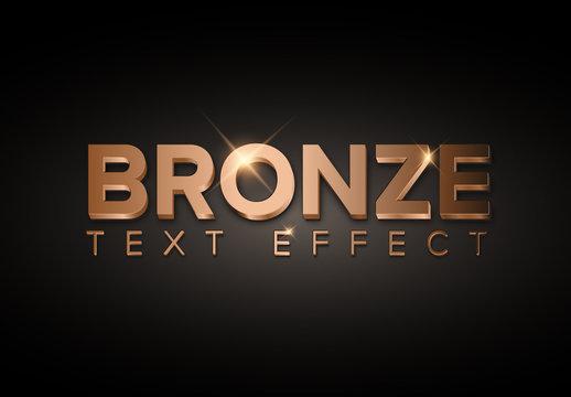 Bronze Metallic 3D Text Effect with Glitter