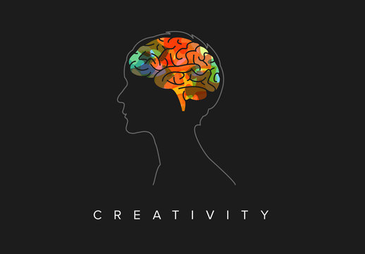 Thinking Concept Illustration with Head Silhouette and Colorful Brain