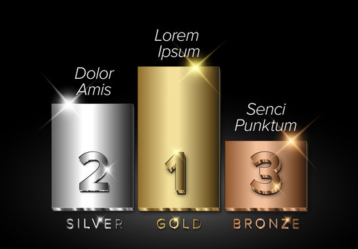 Gold, Silver and Bronze Prize Podium Graphic with Winner Names