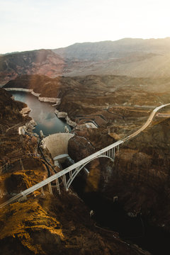 Las Vegas water dam from an helicopter view