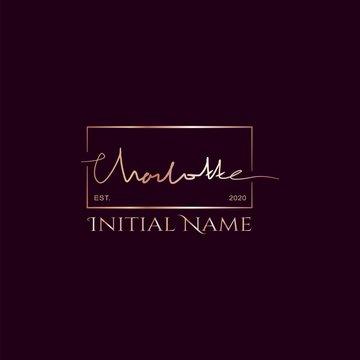 Charlotte Gold Rose Beauty Initial letter logo sign. Handwriting calligraphic girl name signature logo design.