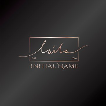 Laila Gold Rose Beauty Initial letter logo sign. Handwriting calligraphic girl name signature logo design.