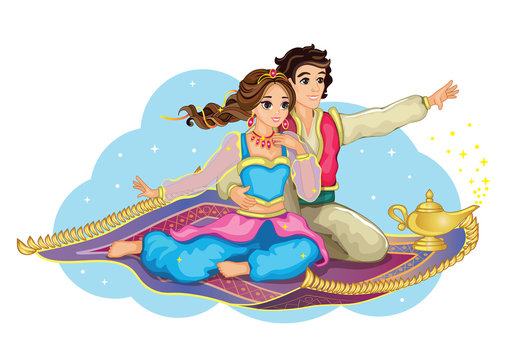 East Princess and Aladdin on magic carpet. Isolated image on white background. Cartoon illustration for children's print or sticker. Fabulous or romantic story. Wonderland. Cute doll or toy. Vector.