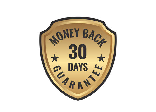 30 day money back guarantee golden sign vector image