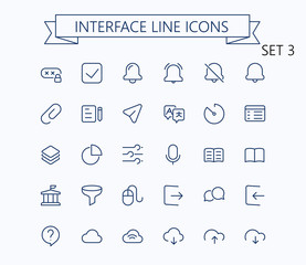 Interface vector outline mini line icons set. 24x24 px. Pixel Perfect. Editable stroke.