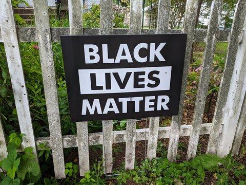 Black Lives Matter Sign On A Gate