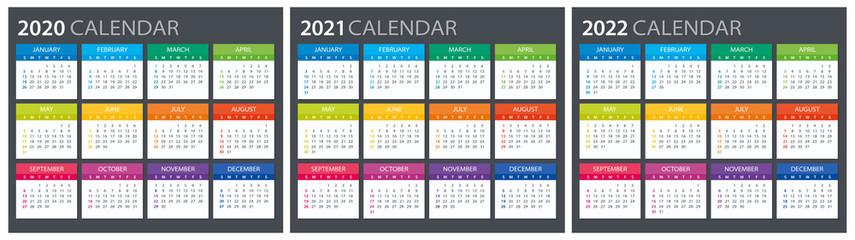 2020 2021 2022 Calendar - illustration. Template. Mock up