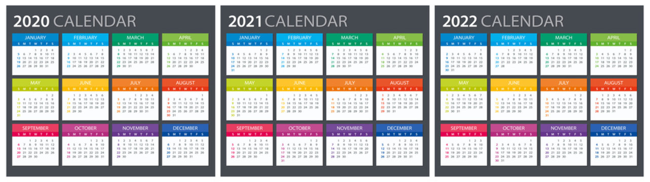 2020 2021 2022 Calendar - illustration. Template. Mock up
