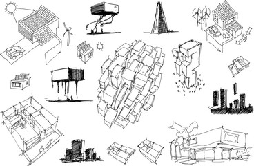 many hand drawn architectectural sketches of a modern abstract architecture and detached houses with energy concepts and urban ideas