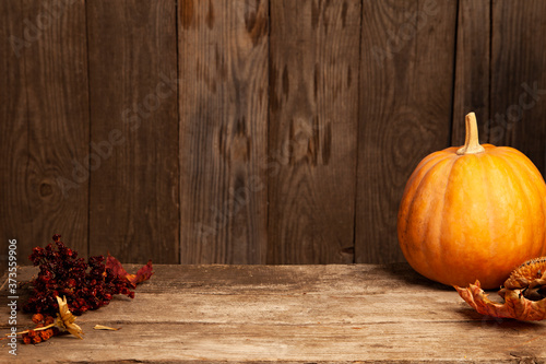 autumn pumpkins and dry berry on a wooden table, thanksgiving, halloween background mockup