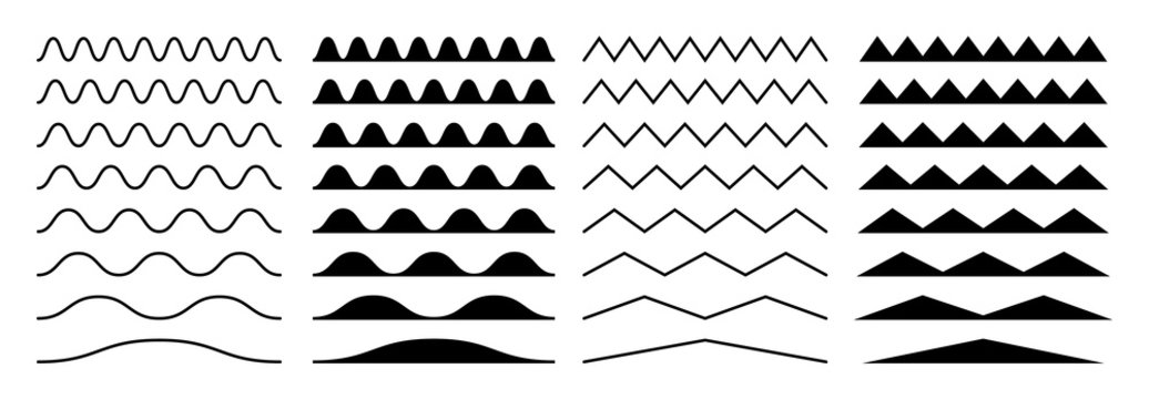 Zigzag borders. Jagged wavy decorations, serrate wave stripes. Isolated black squiggle headers or dividers, paper edge decorative footer vector set. Illustration curve line wave, horizontal, divider