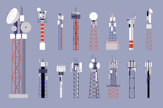 Communication towers. Satellite cellular antenna, wireless mobile telecommunication equipment. Network or radio radar vector illustration. Antenna telecommunication radio, transmission receiving