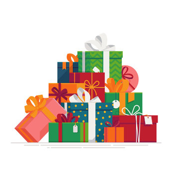 ovely flat vector festive holiday design element on stack or pile of large variety of gift boxes and present packages. Ideal for Christmas themed web and graphic design