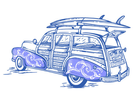 Colorful vector illustration of vintage surfer car with surfboards on the roof.