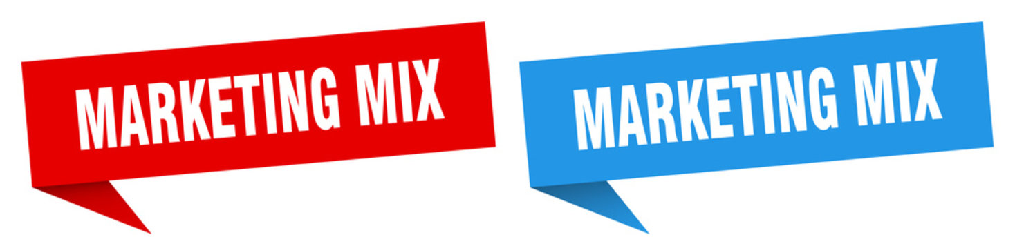 marketing mix banner sign. marketing mix speech bubble label set