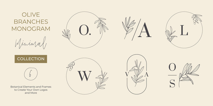 Set of Wedding Monogram and Logos with Olive Branch in Modern Minimal Liner Style. Vector Floral templates for Invitation Cards, Save the Date. Botanical rustic illustration, Beauty Studio, SPA