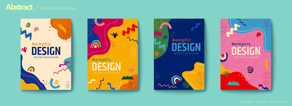 Vivid color abstract flyer set