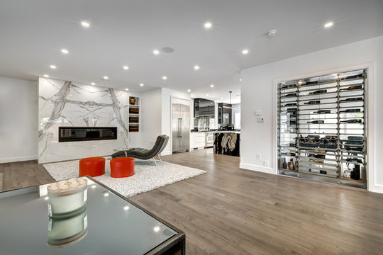 New big luxury modern house in Montreal's suburb partially furnished with backyard, empty rooms, closets, basement and garage