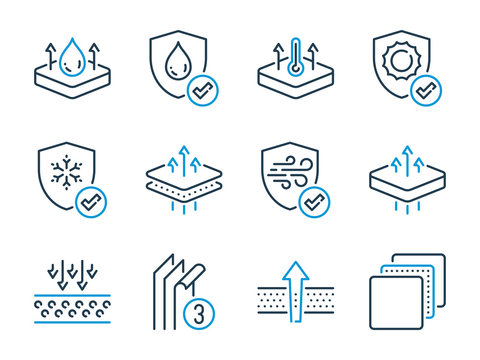 Fabric Feature related vector line icons. Layered Materials outline icon set.