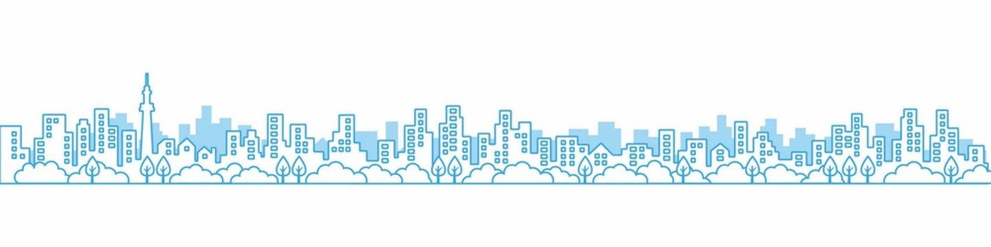 City View Line  A3見開きレイアウトにちょうどいい線画の都市風景の街並み 青