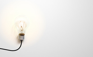 Creative thinking ideas brain innovation concept. Light bulb on white background