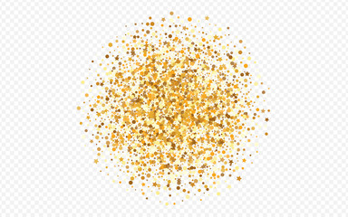 Golden Confetti Art Transparent Background.