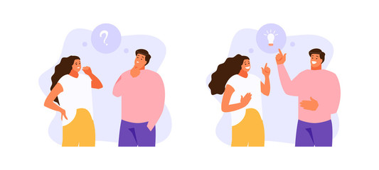 Man and woman thinking on the issue and find the idea. Vector illustration Wall mural