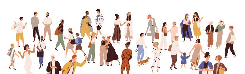 Crowd of multiethnic male and female person vector flat illustration. Diverse various people walking, hugging, talking to each other isolated on white. Smiling man, woman, couple and children