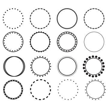 circle frames on white background. doodle frame system, circle monogram sign. flat style.
