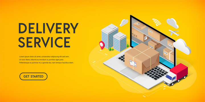Delivery service online isometric banner concept with storage in laptop, parcel box, truck, buildings. Logistic advert 3d design. Vector illustration for web, mobile app, infographics