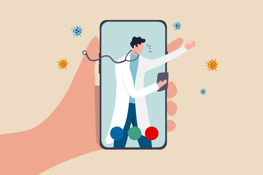 Telehealth health care technology doctor can diagnose and help patient via mobile phone or tele conference concept, patient hand carry mobile application with doctor, physician diagnose virus symptom.