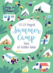 Colorful poster of summer camp with place for text vector flat illustration. Announcement template for camping vacation. Cheerful tiny people spending time together enjoying outdoor activities
