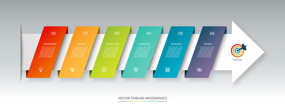 Infographic arrow timeline template with 6 steps. Can be used for web design, diagram, chart, business presentation.