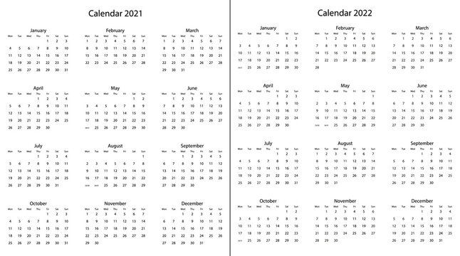 2021, 20220 yearly calendar - 12 months yearly calendar vector eps