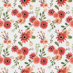 Red Rose Florals Spring Hand Drawn Seamless Pattern - 373646791