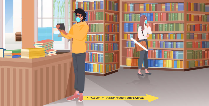 mix race people in masks keeping distance library with signs for social distancing yellow stickers coronavirus epidemic protection measures horizontal full length vector illustration