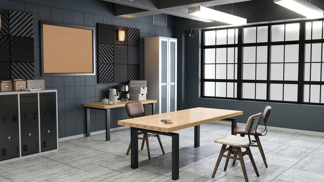 Large modern interrogation room 3d illustration