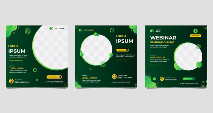 Set of Social media post template with wave background, Suitable for webinar, seminar, live radio and other event. Vector graphic of gradient green background