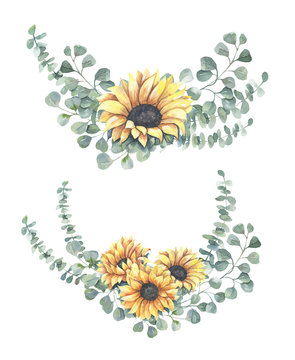 Watercolor hand painted floral sunflower bouquets.Watercolor floral illustration with sunflowers -  for wedding invite, stationary, greetings, wallpapers, background.