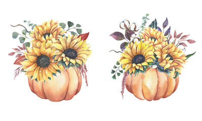 Watercolor hand painted floral sunflower bouquets with pumpkins.Watercolor floral illustration with sunflowers -  for wedding invite, stationary, greetings, wallpapers, background.