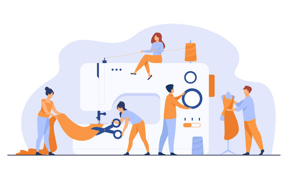 Tiny tailors creating outfit and apparel on sewing machine flat vector illustration. Cartoon women and men working with mannequin. Fashion design industry and textile business concept