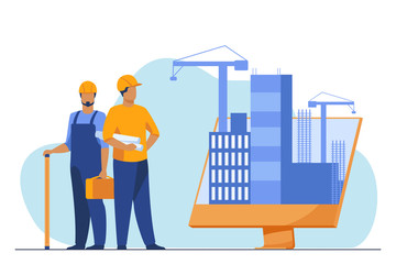 Engineers standing near big monitor with buildings. Project, crane, screen flat vector illustration. Construction and engineering concept for banner, website design or landing web page Papier Peint