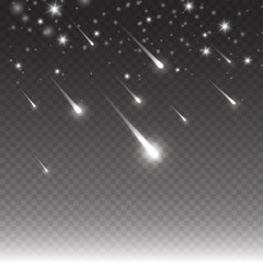 Comets shooting effect and glowing asteroids, stars at night sky. White falling meteorites isolated on black transparent background. Vector cosmos starlight trail for your design