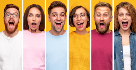 Surprised millennial people in colorful clothes