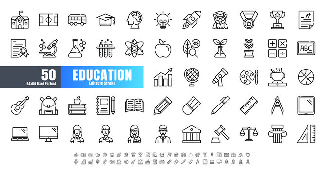 Vector of 50 Education and School Subject Line Outline Icon Set. 64x64 and 256x256 Pixel Perfect Editable Stroke.