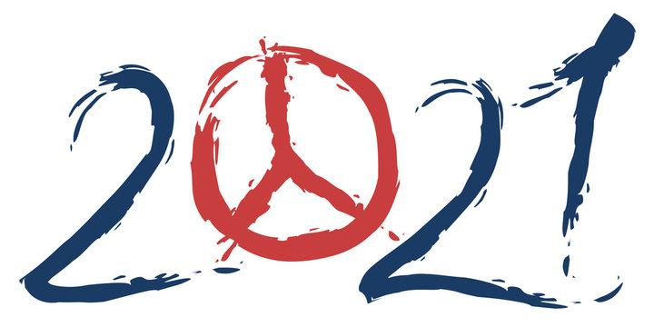2021 sous le signe de la paix avec le symbole hippie de la paix et de l'amour, à la place du zéro.