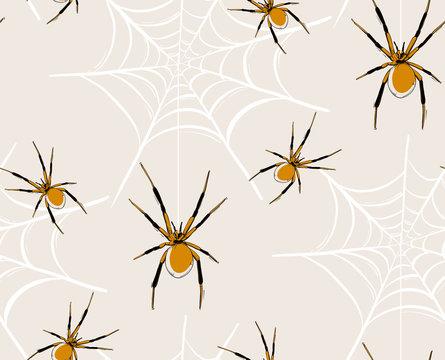 Spider web seamless pattern, vector baby Haloween illustration, kids repeat drawing print. Spooky scandinavian  art, childish design,  cute spider wallpaper, animal fabric  background