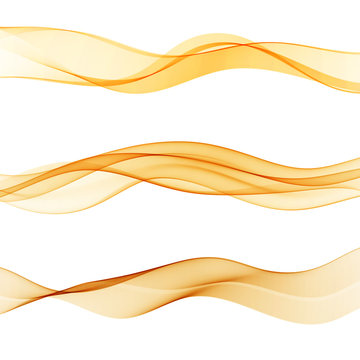Abstract orange lines divider collection of three beautiful gradient speed swoosh waves.Vector wave flow