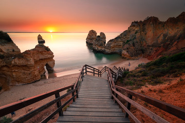 Coves and cliffs at Ponta da Piedade the most famous spot of Algarve region, in Portugal.