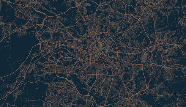 Detailed vector map of Manchester, UK